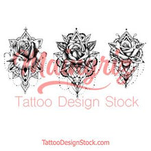 Load image into Gallery viewer, 3 x Realistic rose with mandala  tattoo design high resolution download