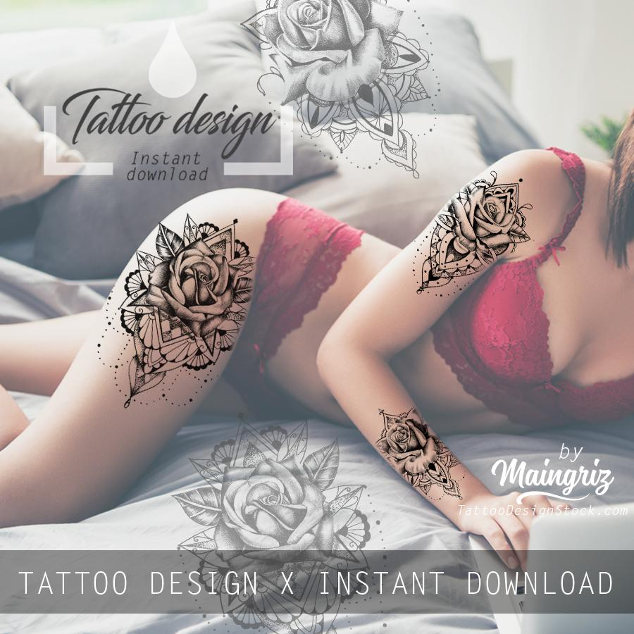 3 x Realistic rose with mandala  tattoo design high resolution download