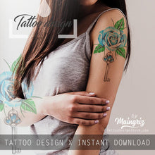 Load image into Gallery viewer, Realistic rose with precious stone and key tattoo design high resolution download