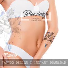 Load image into Gallery viewer, Realistic rose and saphir  tattoo design high resolution download