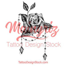 Load image into Gallery viewer, Realistic rose and precious stone  tattoo design high resolution download