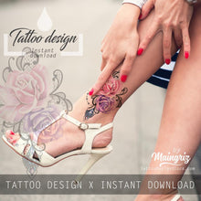 Load image into Gallery viewer, Realistic sexy rose with precious stone  tattoo design high resolution download