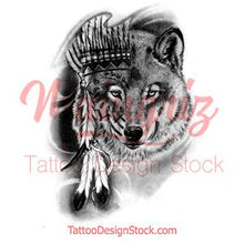 Load image into Gallery viewer, Realistic wolf tattoo design high resolution download