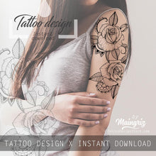 Load image into Gallery viewer, Rose mandala linework tattoo design high resolution download