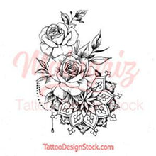 Load image into Gallery viewer, Rose mandala tattoo design high resolution download