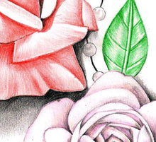 Load image into Gallery viewer, Roses and pearls tattoo design high resolution download