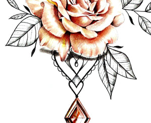 Rose realistic with precious stone  tattoo design high resolution download