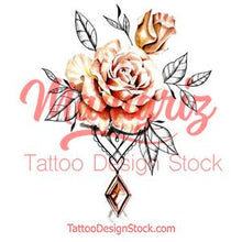 Load image into Gallery viewer, Rose realistic with precious stone  tattoo design high resolution download