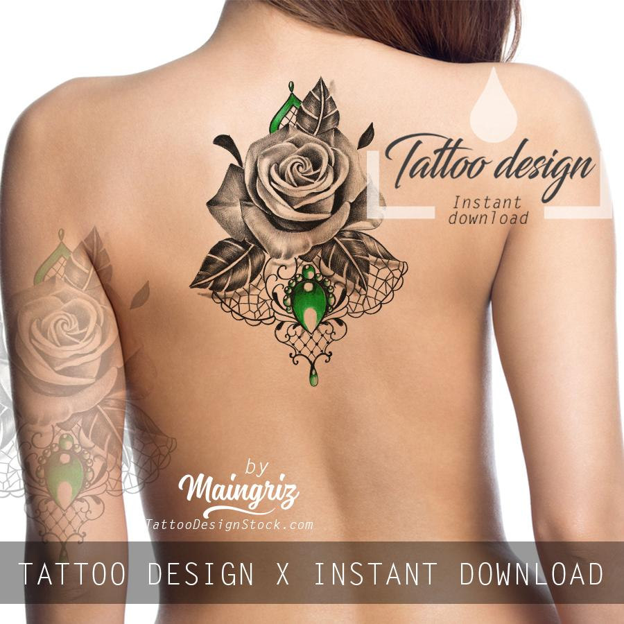 Rose realistic with sexy precious stone  tattoo design high resolution download