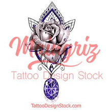 Load image into Gallery viewer, Rose with precious stone tattoo design high resolution download