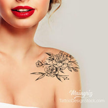 Load image into Gallery viewer, shoulder roses linework tattoo design  high resolution download