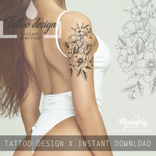 Load image into Gallery viewer, Sexy hibiscus linework tattoo design high resolution download