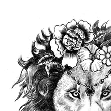 Load image into Gallery viewer, Sexy lion flowers tattoo design references high resolution download
