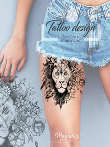 Sexy lion flowers tattoo design references high resolution download