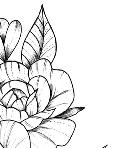sexy peony linework half sleeve tattoo high resolution download