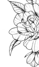 Load image into Gallery viewer, sexy peony linework half sleeve tattoo high resolution download