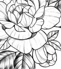 Load image into Gallery viewer, Sexy peony linework sideboob tattoo design high resolution download