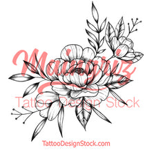 Load image into Gallery viewer, Peony sideboob linework tattoo design high resolution download