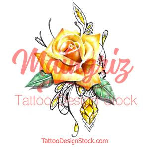 Sexy precious stone with realistic rose tattoo design high resolution download