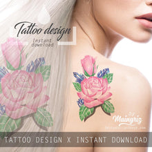 Load image into Gallery viewer, Sexy precious stone with realistic rose tattoo design high resolution