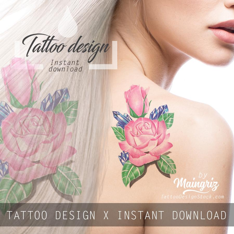 Sexy precious stone with realistic rose tattoo design high resolution