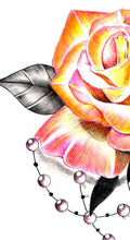 Load image into Gallery viewer, Sexy realistic rose with precious stone tattoo design high resolution download