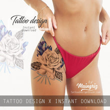 Load image into Gallery viewer, Sexy realistic rose with prism stone tattoo design high resolution download