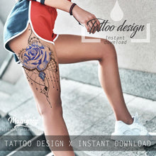 Load image into Gallery viewer, Sexy rose  with precious stone tattoo design high resolution download