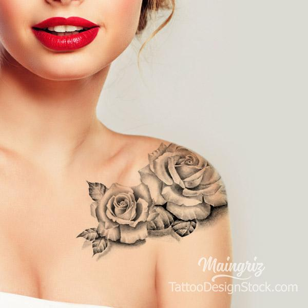 rose shoulder tattoo design high resolution download