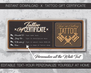 tattoo gift certificate instant download designed for tattoo shop