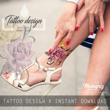 Load image into Gallery viewer, Two realistic roses with precious stone tattoo design high resolution download