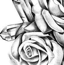 Load image into Gallery viewer, Two precious stone with realistic rose tattoo design high resolution download