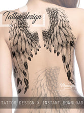 Load image into Gallery viewer, sexy wings tattoo ideas for back