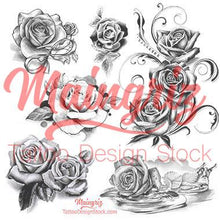 Load image into Gallery viewer, realistic roses of tattoo designs in black and grey style.