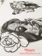 Load image into Gallery viewer,  amazing catrina for your custom sleeve tattoo design high resolution download by tattoo artist
