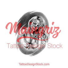 Load image into Gallery viewer, Clown girl chicano tattoo design references