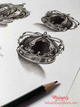 Load image into Gallery viewer, original crown tattoo design high resolution download
