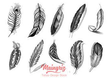 Load image into Gallery viewer, 10 amazing Feathers Tattoo design digital download