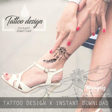 Load image into Gallery viewer, 3 feathers with pearl tattoo design high resolution download