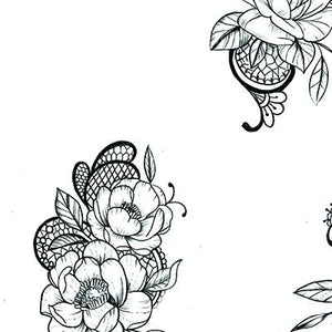 sexy flowers and lace tattoo design high resolution download