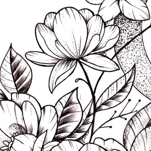 Flowers and moon sexy tattoo design