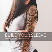 Load image into Gallery viewer, realistic roses chicano sleeve tattoo designs high resolution download