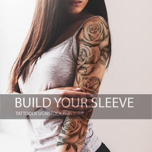 realistic roses chicano sleeve tattoo designs high resolution download