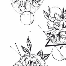 Load image into Gallery viewer, geometric roses line work tattoo design high resolution download