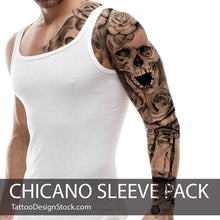 Load image into Gallery viewer, chicano sleeve tattoo design in high resolution download