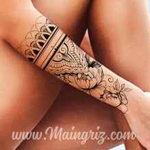 Load image into Gallery viewer, half sleeve mandala tattoo design created by tattoo artist