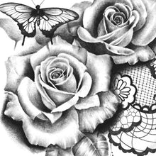 Load image into Gallery viewer, sexy roses butterfly pearls and feathers tattoo design