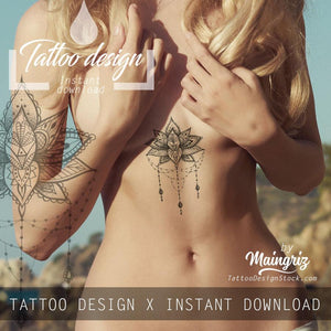 amazing original lotus underboob tattoo for woman
