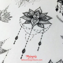 Load image into Gallery viewer, amazing lotus mandala tattoo design by tattoodesignstock.com