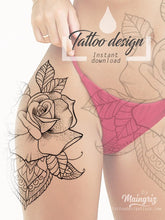 Load image into Gallery viewer, rose linework mandala tattoo design digital download by tattoo artists